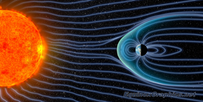An image of the electromagnetic rays emitted by the sun, being difflected by Earth magnetic field.