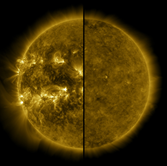 The image shows the sun during solar maximum on the left and solar minimum on the right.